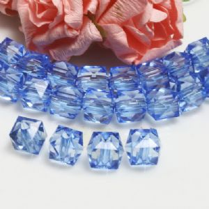 Beads, Imitation Crystal beads, Acrylic, blue, Faceted Cubes, 10mm x 10mm x 10mm, 18g, 40 Beads, (SLZ0540)